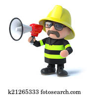 3d Firefighter with a megaphone