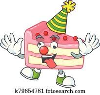 Amusing Clown strawberry slice cake cartoon character mascot style