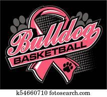 bulldogge, basketball, mit, krebs, schleifchen