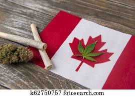 Canadian flag with assorted marijuana products