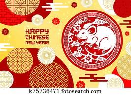 glücklich, chinesischer, neu, year,, ratte, sign,, china, verzierungen
