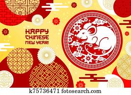 Happy Chinese New Year, rat sign, China ornaments