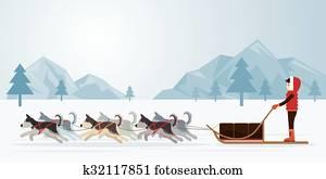 leute, mit, arktisch, hunde, schlitteln, panorama, hintergrund