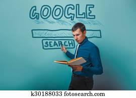 man shows a pointer to search Google holding a book infographics