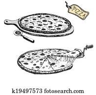 Pizza. Hand drawn illustration