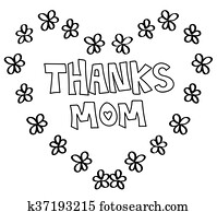 Thanks Mom Heart Coloring Page