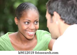 Happy couple in conversation