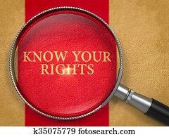 Know Your Rights through Loupe on Old Paper.