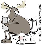 Moose sitting on a toilet