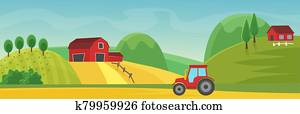 Rural landscape panorama with farm cartoon flat vector illustration concept. Panoramic Countryside fields, trees, high hills, red houses. Tractor on dirt road outroad in foreground.