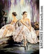 The ballerina sitting near a mirror