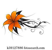 vektor, orange lilie