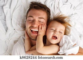 Child Dad White Sheet Laugh Lay
