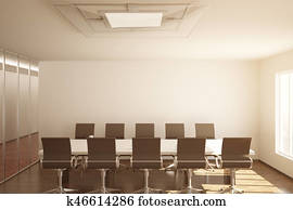 Conference room with blank wall