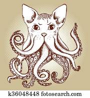 Mixed cat and octopus