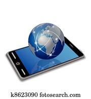 network earth on smart phone