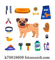 Pet care concept. Cute Pug and dog care goods on white background. Dog care, grooming, hygiene, health. Pet shop, accessories. Flat style vector illustration.