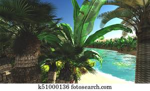 Rich tropical vegetation on wilderness later in the day, 3d rendering