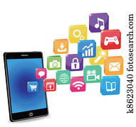 smart phone applications on a white