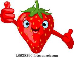 Cheerful Cartoon Strawberry charac