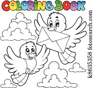 Coloring book birds with envelope