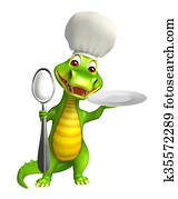 cute Aligator cartoon character with dinner plate and spoons