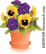 purple,, gold, pansies,, tonerde, blumentopf