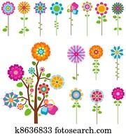 retro flowers set