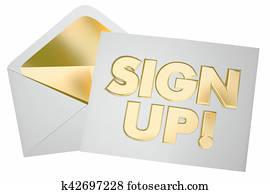 Sign Up Register Invitation Envelope Join Us 3d Illustration
