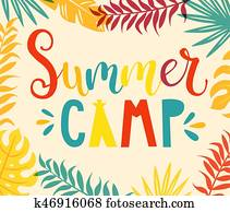 Summer camp handdrawn lettering.