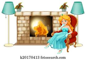 A princess near the fireplace