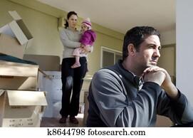 familie, probleme, -, wohnungslos