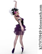 Gracefull ballerina isolated