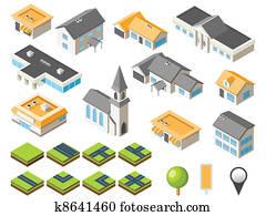 Suburban isometric city kit