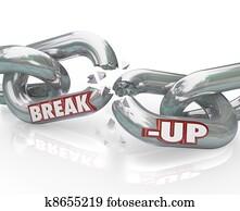Break-Up Broken Links Chain Separation Divorce