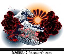 Japan tattoo style landscape