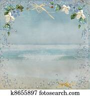 nautical border on ocean background
