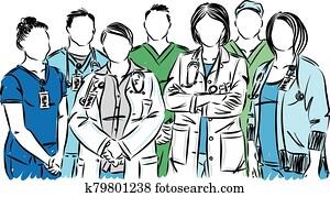 NURSES AND DOCTORS MEDICAL STAFF VECTOR ILLUSTRATION