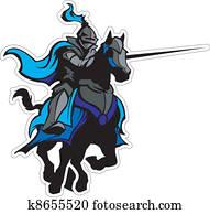 tjostieren, blau, ritter, maskottchen, auf, pferd
