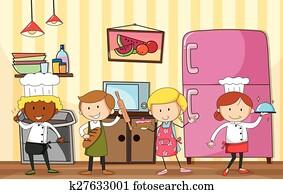 backen, und, kochende