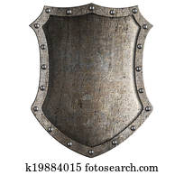 medieval knight shield isolated on white