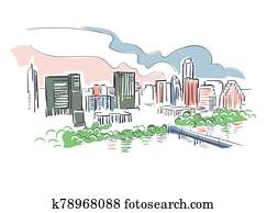 Austin Texas usa America vector sketch city illustration line art