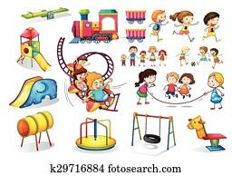 Children playing and playground set