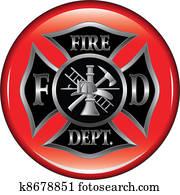 Fire Department Maltese Cross Butto