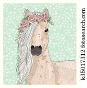 niedlich, pferd, mit, flowers.