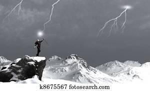 Sorceress Calling the Lightning