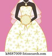 Bride Wedding Dress Floral Bouquet