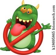 Cartoon Stop virus - green virus in