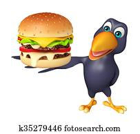 Crow cartoon character with bueger