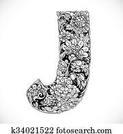 Clip Art Of Doodles Font From Ornamental Flowers Letter L Black